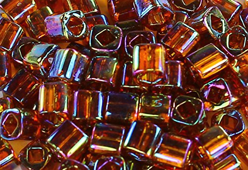 4mm Cube TOHO Glass Seed Beads # 177-Trans-Rainbow Smoky Topaz 15g