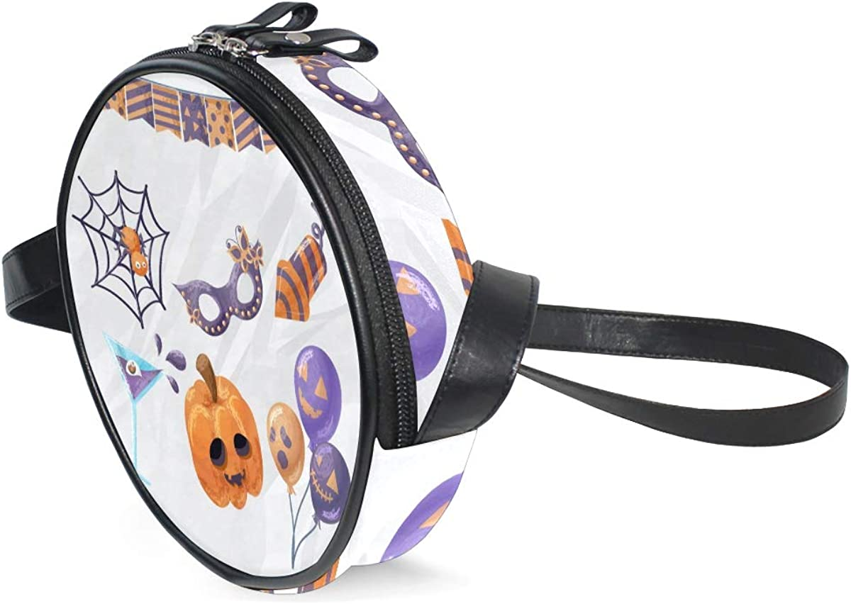 KEAKIA Watercolor Halloween Elements Round Crossbody Bag Shoulder Sling Bag Handbag Purse Satchel Shoulder Bag for Kids Women