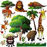 Kids Jungle Themed Animal Stickers - Set of 14 Multi-color Nursery Decals