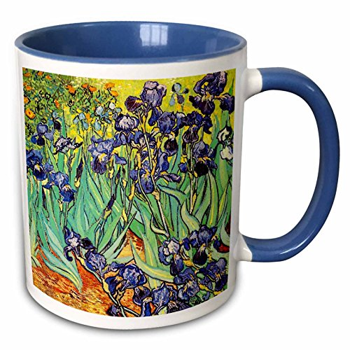 Van Gogh Iris (3dRose (mug_155630_6) Irises by Vincent van Gogh 1889 - purple flowers iris garden - copy of famous painting by the master - Two Tone Blue Mug, 11oz)