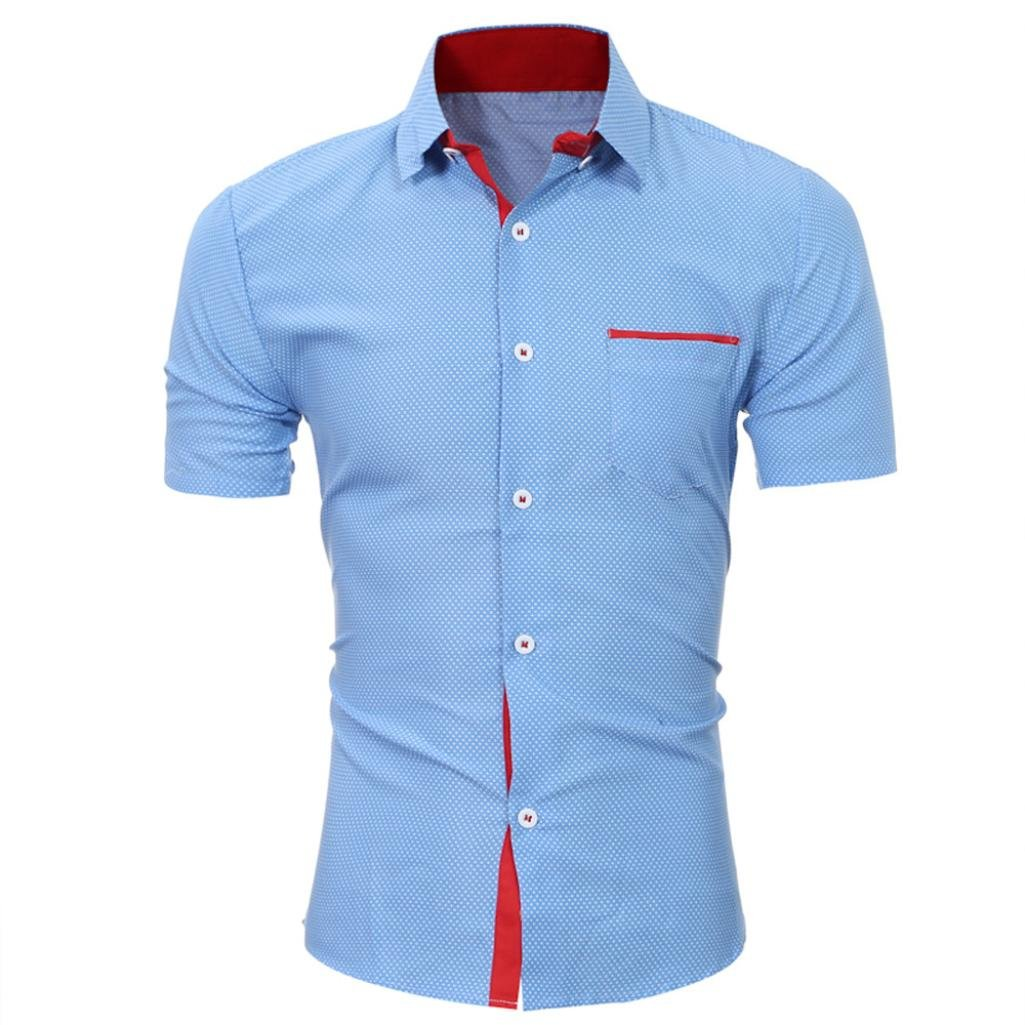 GREFER Men's Casual Short Sleeve Shirt Business Slim Tee Shirt Blouse Top (XL, Blue) by GREFER