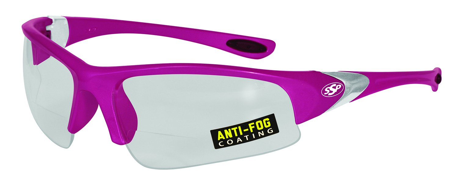 SSP Eyewear Chef Shades 1.50 Bifocal Reading Glasses with Pink Frames and Clear Anti-Fog Lenses, CSLOCOTO PNK CLAF 1.50