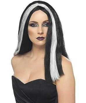 Peluca negra y blanca Halloween