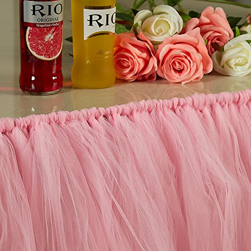 FunPa Tutu Tulle Table Skirt Romantic Fluffy Tulle Tableware Tablecloth Skirting Table Cover for Wedding Baby Shower Birthday Girl Princess Decoration