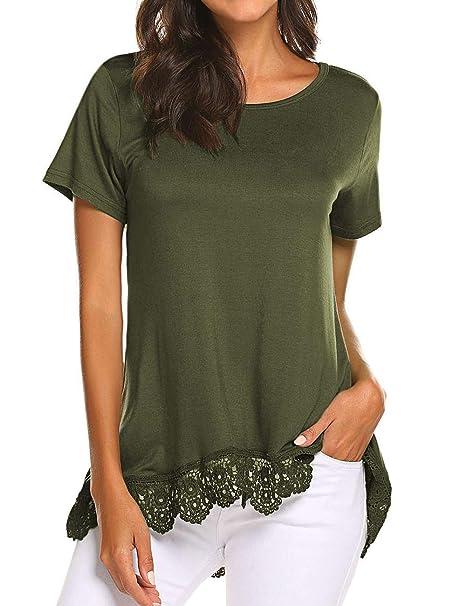Amazon.com: Halife - Blusas de manga corta para mujer ...