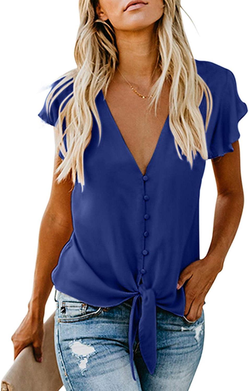 TALLA S(EU36). Aleumdr Mujer Blusa Corta Cuello V Camiseta de Mujer Mangas Cortas Camisa Casual de Liso Size S-XXL Blanco S(EU36)