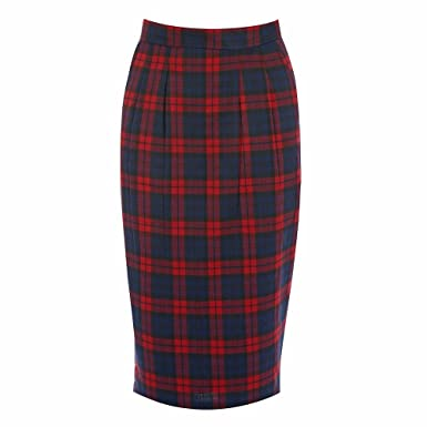 005be386e8 Lindy Bop 'Fontaine' Red Tartan Pencil Skirt: Amazon.co.uk: Clothing