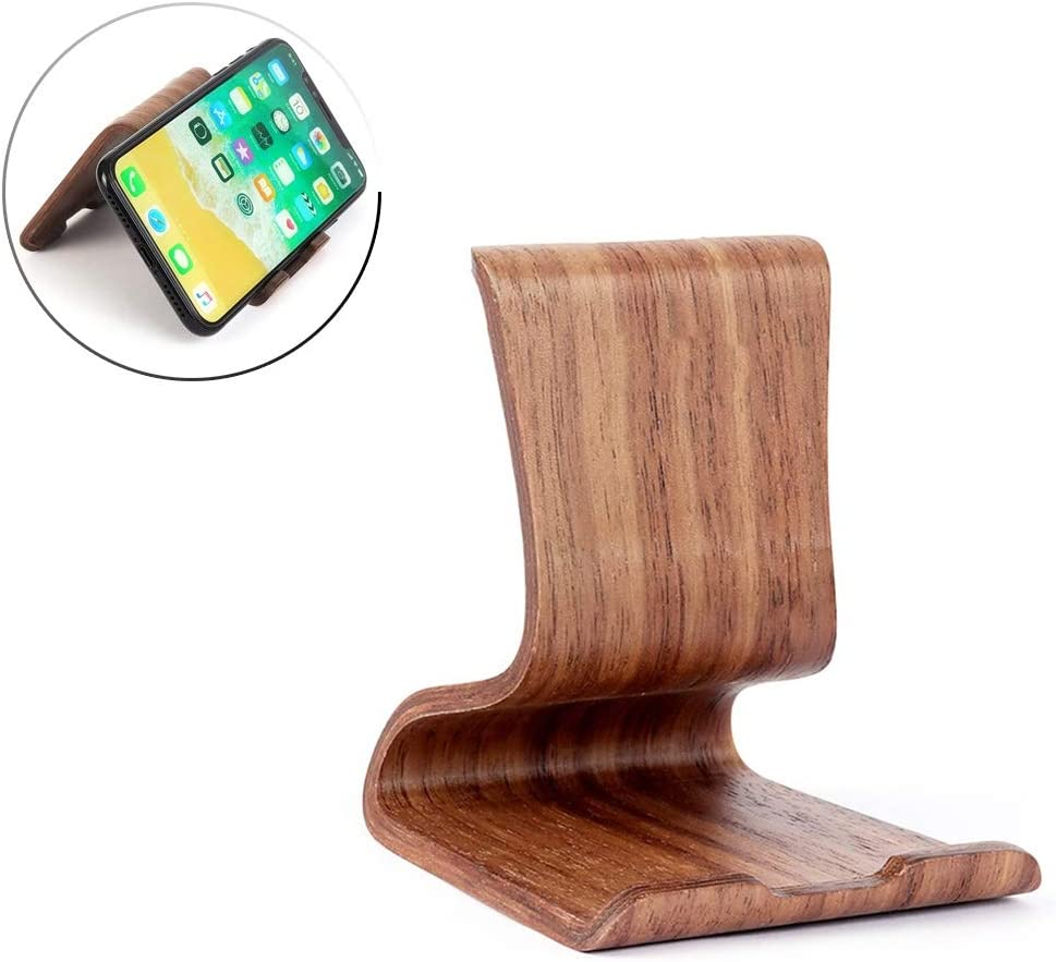 Miyabitors European Wooden Cellular Phone Phone Holder Portable Creative Modeling Desktop Stand Color : Brown Mobile Phone Tablet Universal Desktop Phone Holder