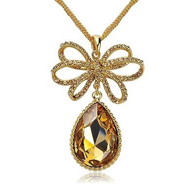 85fa25a47 Amazon.com: Women Long Cloth Chain Jewelry Diamante Bowknot Drop ...