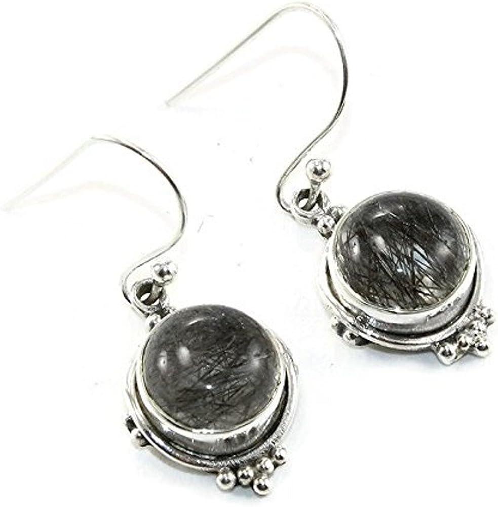 BLACK RUTILE Gemstone Dangle Earring