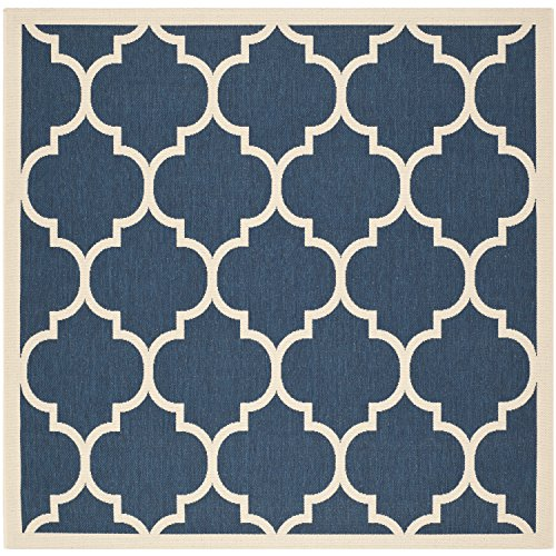 Safavieh Courtyard Collection CY6914-268 Navy and Beige Indoor/ Outdoor Square Area Rug (4' Square)