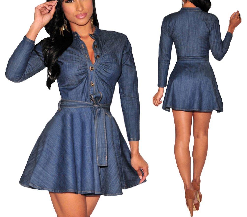 e7e9ffb40568 Momtuesdays2 Women s Long Sleeve A-line High-Low Denim Casual Dress Cowboy  Jumpsuit