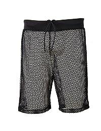 Godsen Mens Sexy Mesh Openwork Drawstring Lounge Boxer Shorts Underwear