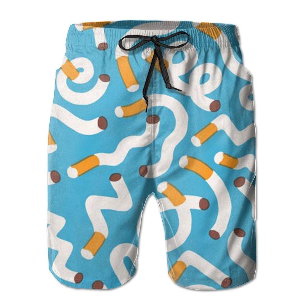 QYKKJF Mens Smoke Summer Holiday Quick-Drying Swim Trunks Beach Shorts Board Shorts