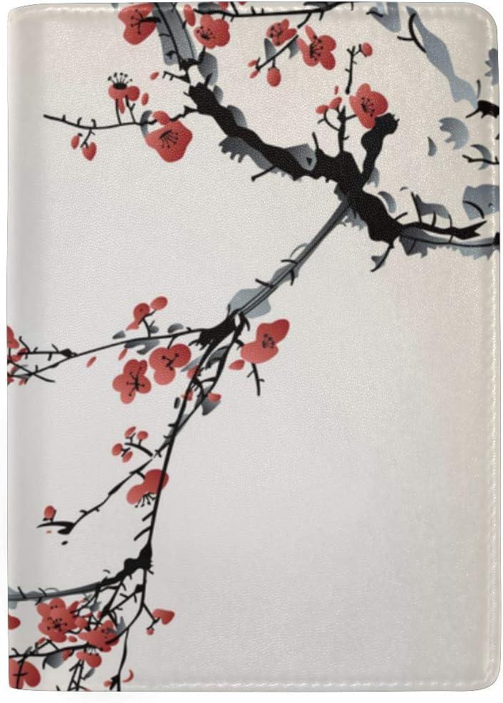 Realistic Sakura Blossom Birds Blocking Print Passport Holder Cover Case Travel Luggage Passport Wallet Card Holder Made With Leather For Men Women Kids Family