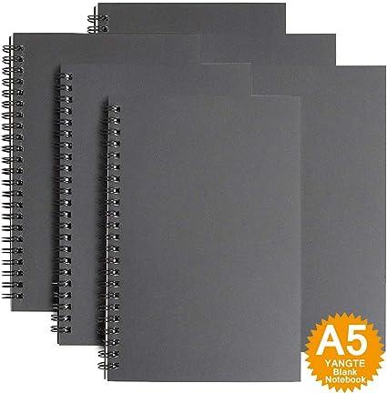 Cuaderno de bocetos tamaño A5, paquete de 3, tapa blanda con espiral, bloc de bocetos, 100 páginas/50 hojas de papel blanco, ideal para viajes Pack de 6 Negro - Blanco: Amazon.es: Oficina y papelería