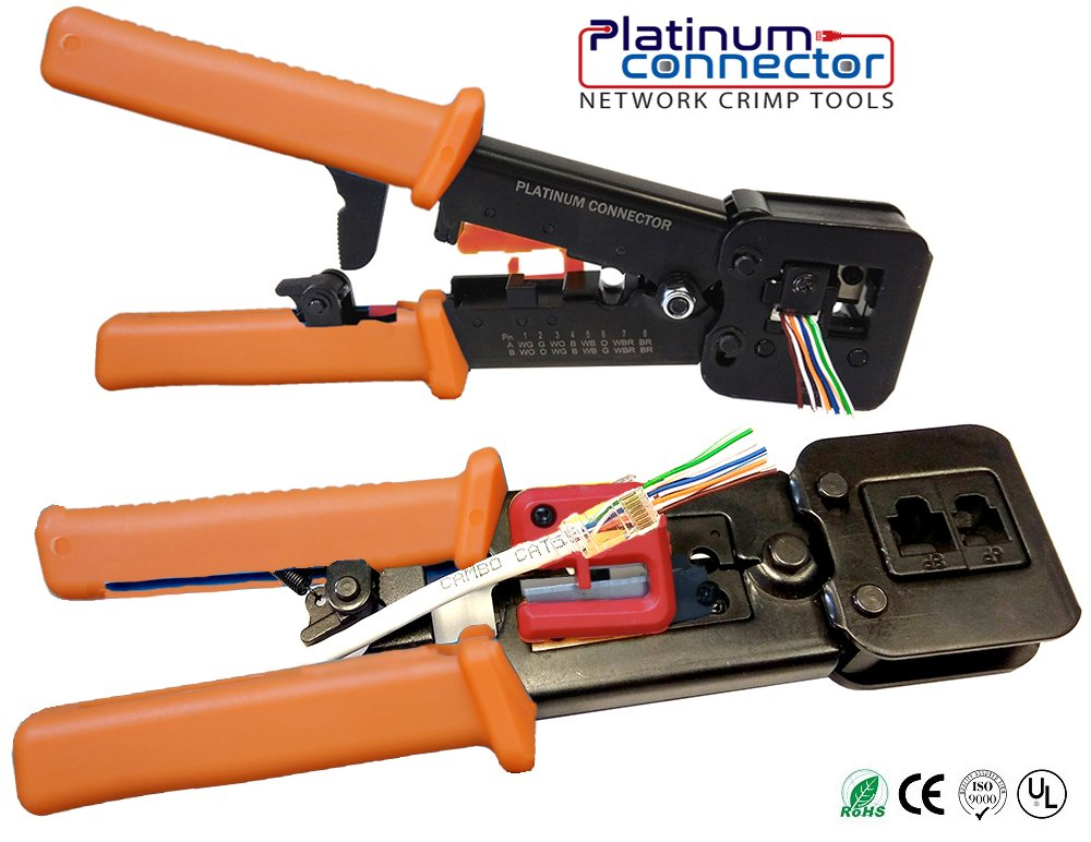 RJ45 Professional Heavy Duty Crimp Tool by Platinum Connector for pass through Internet network connector