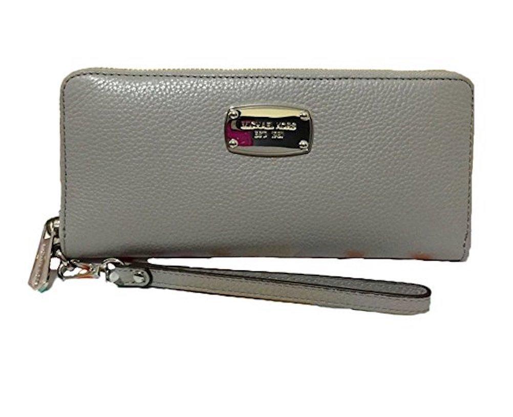 Michael Kors Pearl Grey Leather Jet Set Travel Continental Zip Around Wallet Wristlet