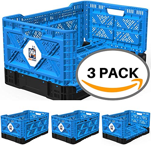BIGANT Heavy Duty Collapsible & Stackable Plastic Milk Crate - IP543630, 12.7 Gallons, Medium Size, Blue, Set of 3, Absolute Snap Lock Foldable Industrial Storage Bin Container Utility Tote ()