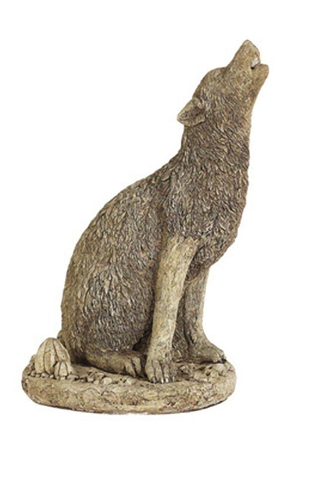 Solid Rock Stoneworks Howling Coyote Stone Statue 16in Tall Buff Color