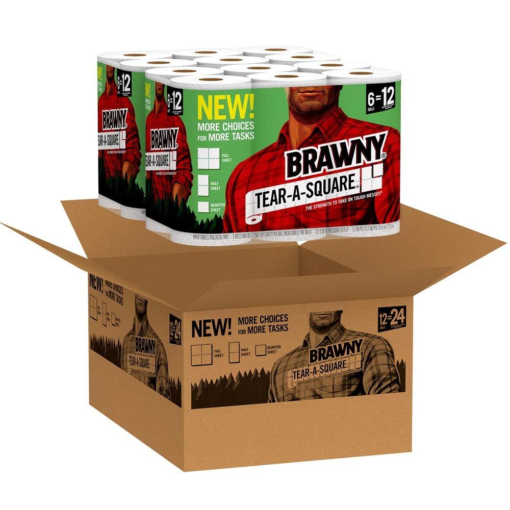 Brawny Tear-A-Square Paper Towels, 12 Rolls, 12 = 24 Regular Rolls, 3 Sheet Size Options, Quarter Size Sheets by Brawny (Image #2)
