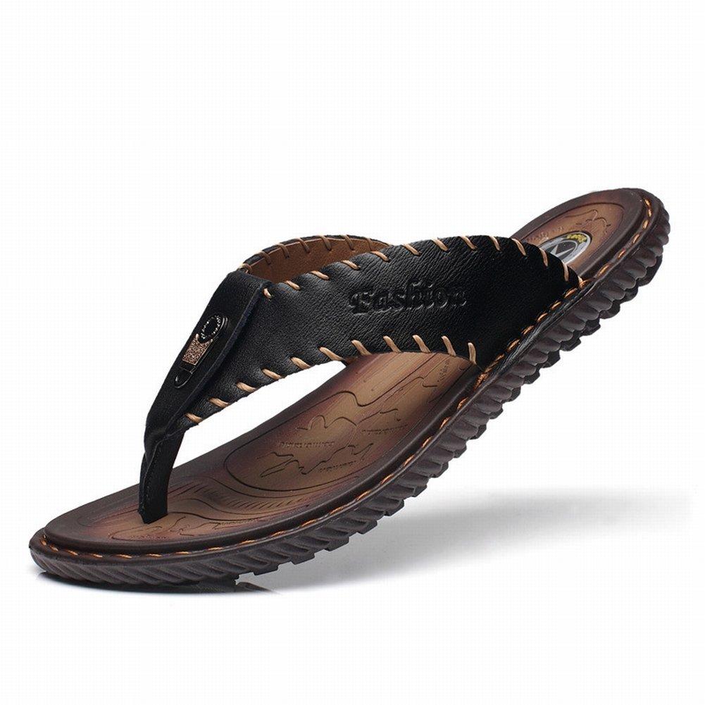 YTTY Herren Leder Flip Flop Toe Sandalen Rutschfeste Outdoor-Strandschuhe Flache Herren Sandalen Toe Blau ada81a