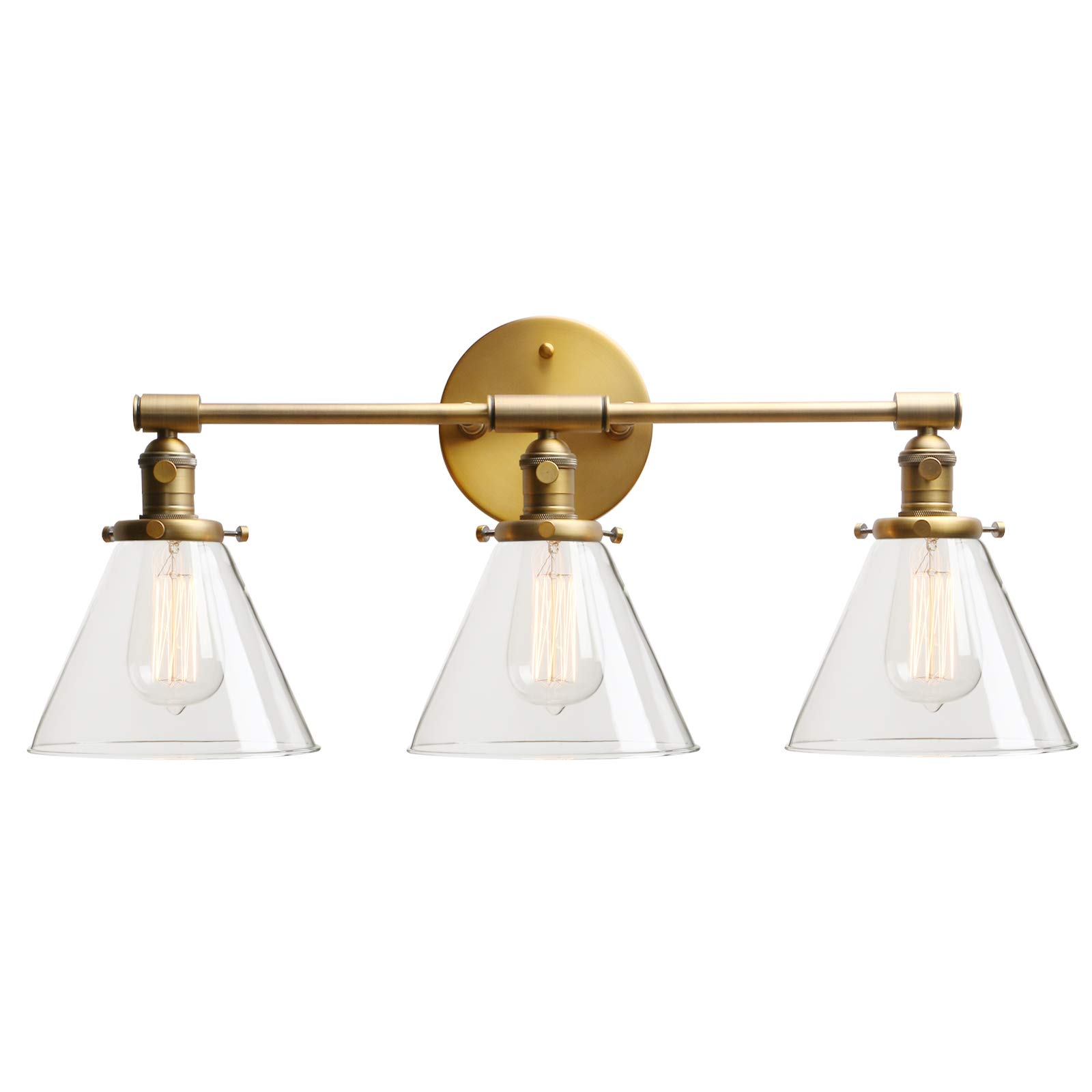 Permo Vintage Industrial Antique Three-Light Wall Sconces with Funnel Flared Clear Glass Shade (Antique)