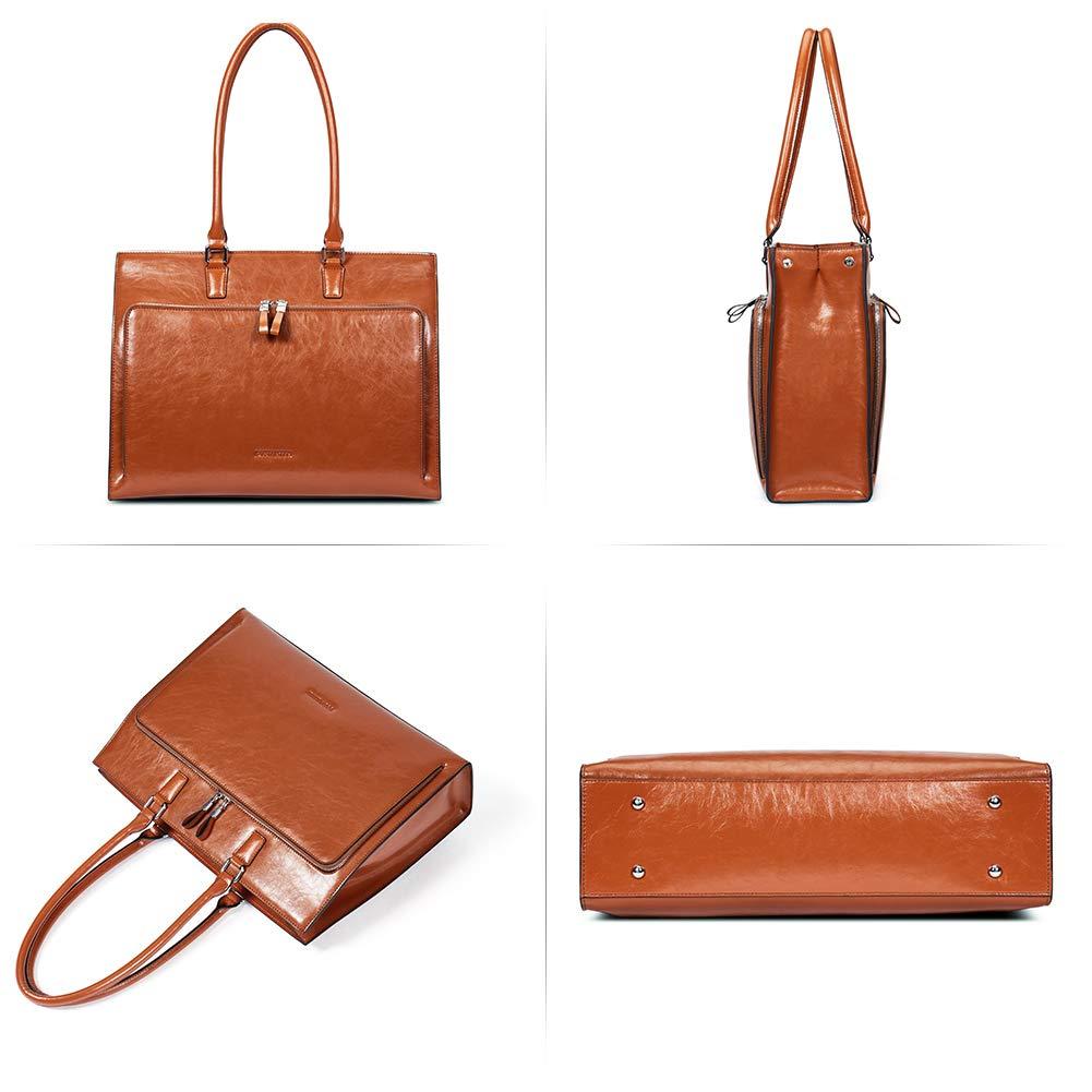 BOSTANTEN Women Leather Briefcase Vintage Shoulder 15.6'' Laptop Tote Handbags Brown by BOSTANTEN (Image #7)