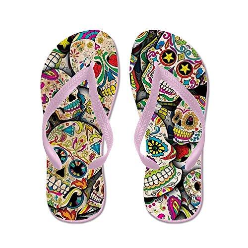 CafePress Sugar Skull Collage - Flip Flops, Funny Thong Sandals, Beach Sandals Pink