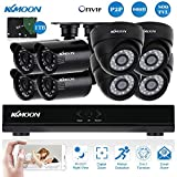 KKmoon 8CH Full 960H/D1 800TVL CCTV DVR Security System HDMI P2P Cloud Network Onvif Video Recorder & 1TB HDD & 4x Indoor Dome Camera & 4x Outdoor Bullet Camera Night Vision Plug and Play Email Alarm
