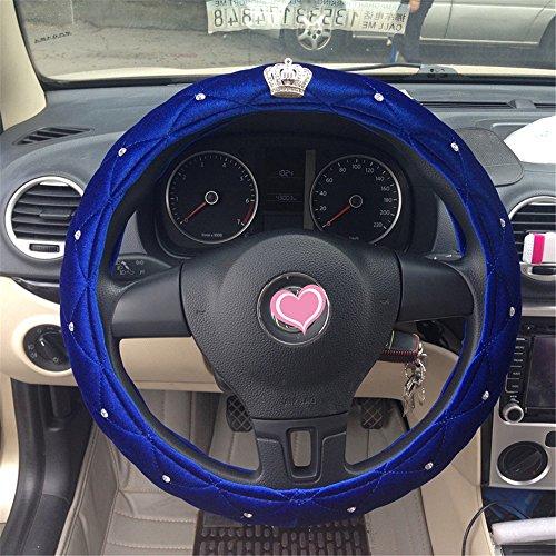 Liaozy888 an Crown Shape Rhinestone Plush Cute Steering Wheel Covers for Winter car Accessories Interior for Girls Women DIY (Blue)