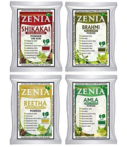 Zenia Herbal Hair Care Combo Pack 100g Amla, Brahmi, Shikakai, Aritha Powder (Shikakai Powder Amla)