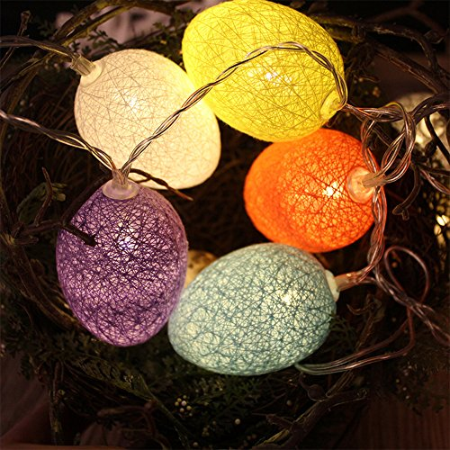 Easter Egg Lights, HOMREE LED String Lights with 20 Led/10.5ft Battery Powered Decorative Lights for Mother's Day, Birthday, Holiday, Wedding, Party, Kids Room, Home Decoration (Colorful) by HOMREE