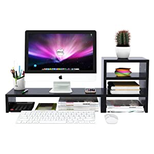 Wood Computer Monitor Stand Raiser Black with 3 Tier Desktop Organizer Storage Shelf and PC Screen TV Riser for Home Office (31.5 in,Black,Heavy Duty,Independent Design)