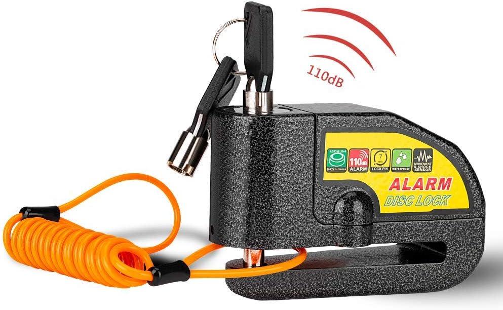 Linkax Candado Disco Moto,Dispositivos Antirrobo Candado de Disco con1.5M Cable,Alarma Antirrobo Impermeable 6mm 110DB, Cerradura con alarma para Motos Motocicletas Bicicletas