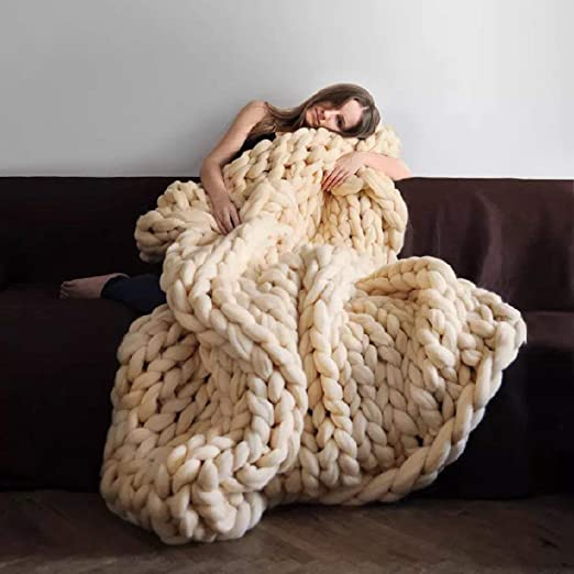 50*50CM Large Warm Sofa Chunky Handmade Knit Yarn Blanket Thick Bulky Knitted