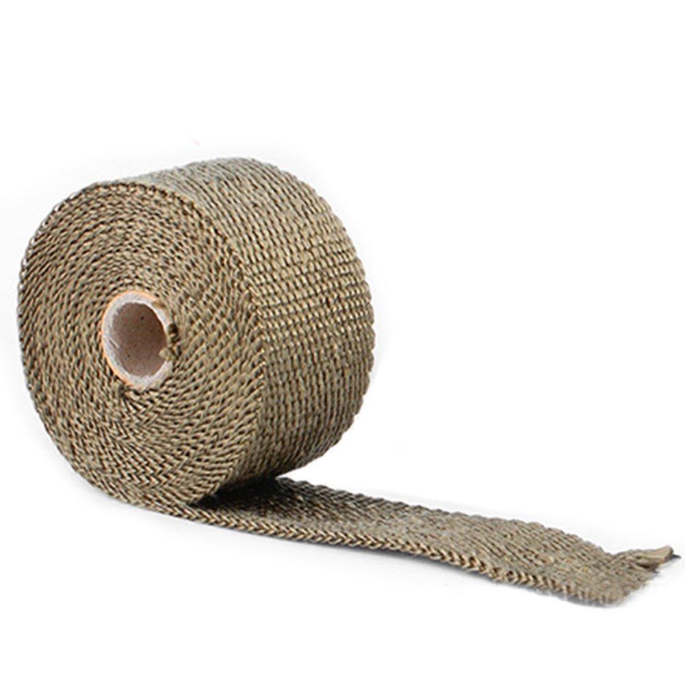 5 m titanio scarico termico Wrap roll, scarico nastro isolante maniche benda scudo termico in fibra di vetro nastro per tubi, tubazioni moto auto con 4 fascette in acciaio inossidabile di bloccaggio Hinmay