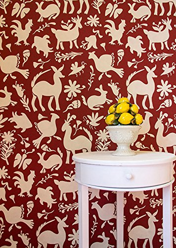 Otomi Pattern Folk Art Latin American Mexican Design Wall Stencil - Painting Animals and Boho Chic Wallpaper Look