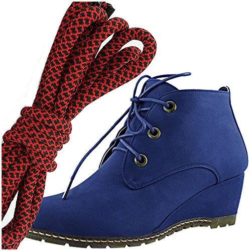 DailyShoes Womens Fashion Lace Up Round Toe Ankle High Oxford Wedge Bootie, Red Black Blue Pu
