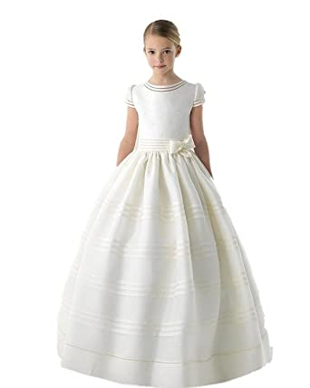 cacbd5fa0 Graceprom Girls Scoop Short Sleeves First Communion Dresses with Bow Flower  Girl Dress Ivory
