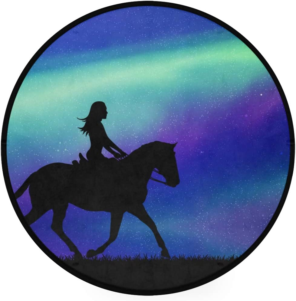 Round Area Rug 3ft - Girl On Running Horse Northern Lights Starry Sky Round Carpet Washable Floor Mats for Kitchen Bedroom Living Room