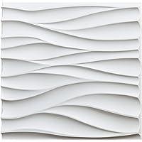 Art3d Texturen 3D Wandpanelen PVC Muurpanelen Wit Tegels Backsplash Waterdicht Pak van 12 Tegels 32 Sq Ft