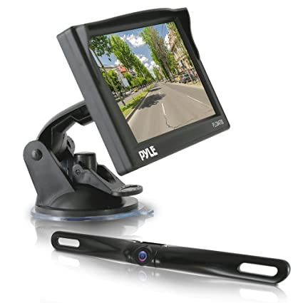 pyle backup car camera rearview monitor system - parking & reverse assist  with waterproof and night