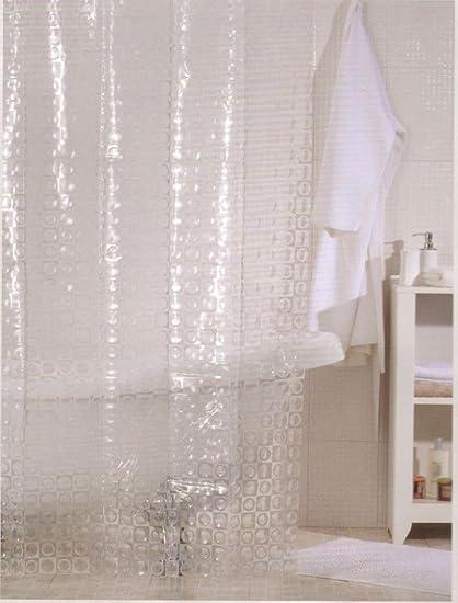 Linenwalas Water Repellent Translucent Shower Curtain Magic Mirror
