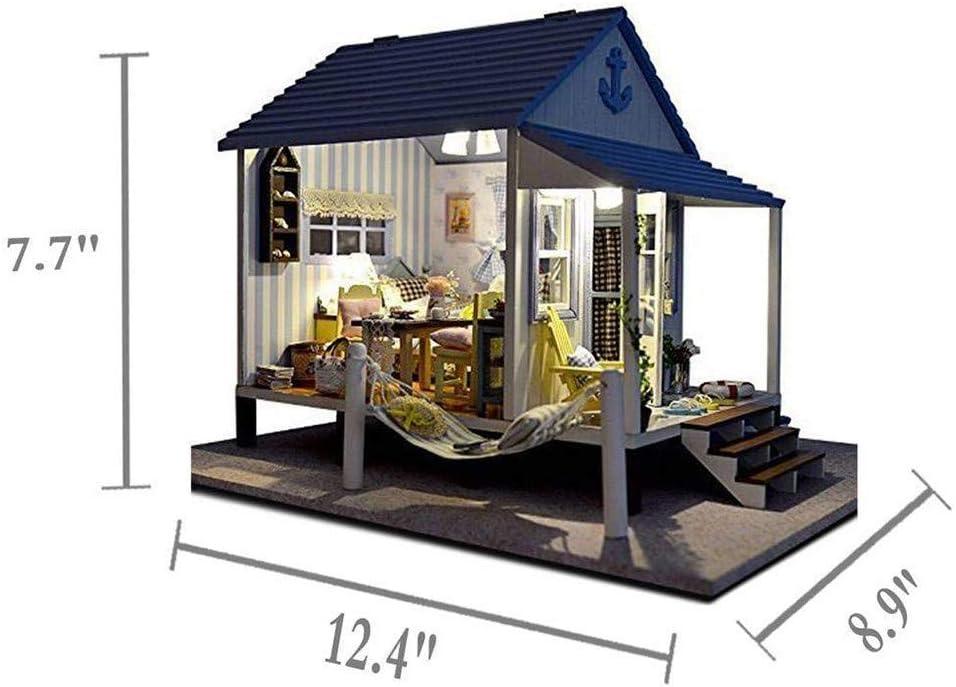 Kits de artesanía de Invernadero en Miniatura en 3D, Casa de muñecas en Miniatura DIY, Casa de Playa de la Serie Coast, Muebles de casa de muñecas, cumpleaños: Amazon.es: Jardín