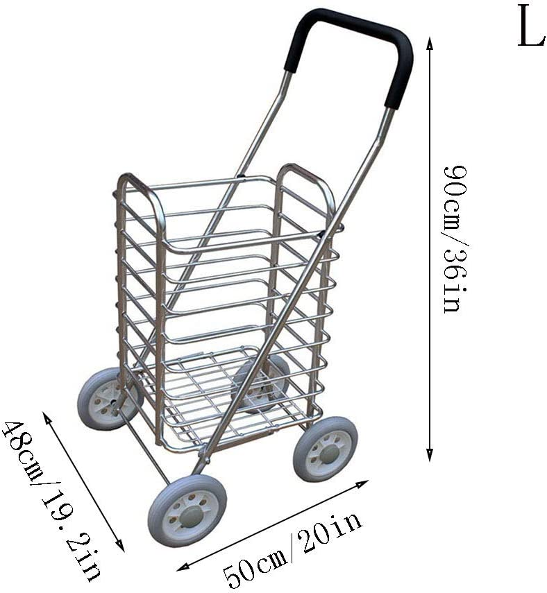 Shopping cart Folding Portable Old Aluminum Alloy Trolley Trolley Trailer Zr Durable Folding Design for Easy Storage of Shopping carts Size : L