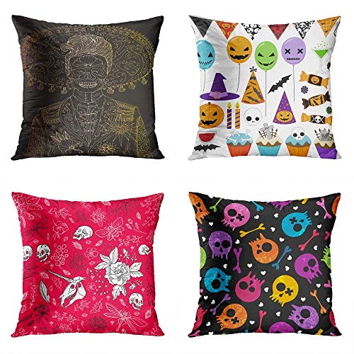 Janyho Set of 4 Throw Pillow Covers Square JPEG Man Sugar Skull Halloween Party Elements Raster Version Happy Multicolor Skulls Home Sofa Bedroom Cushion Cases Polyester Pillowcase 18x18 Inch