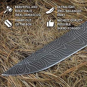 Damascus Steel Knife - Fixed Blade Knives - Real Damascus Hunting Knife - Birchbark - INFANTRYMAN Standard Edition - Leather Sheath