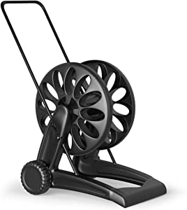 Goplus Mobile Hose Reel Cart with 2 Wheels, Quick Connectors and Adjustable Nozzle, Easy to Grip Crank Plastic Hose Storage Cart for Garden Lawn Patio, Made in Italy