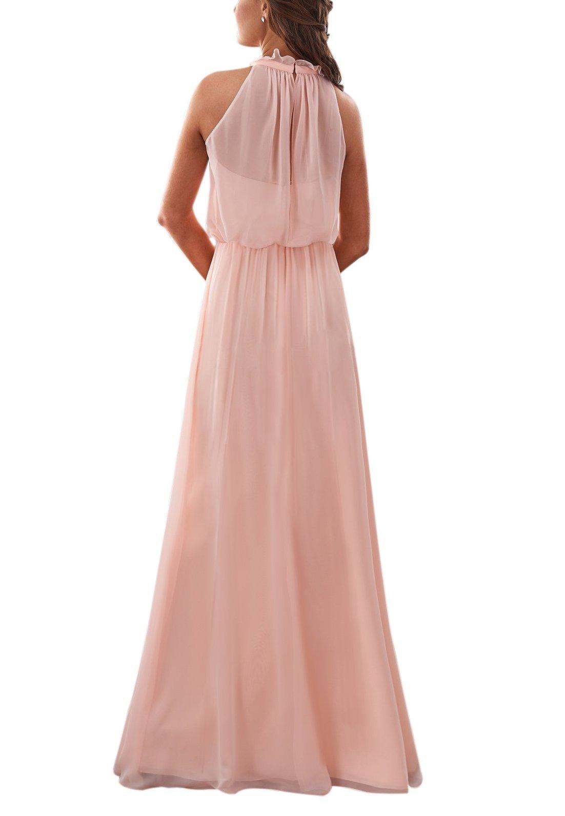 LoveMyth Womens Chiffon Spring Halter A-Line Backless Bridesmaid Formal Party Dress
